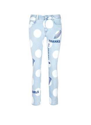 Main View - Click To Enlarge - Stella McCartney - 'Thanks Girls' slogan embroidered polka dot print jeans