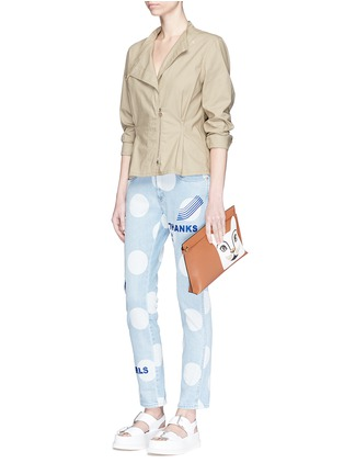 Figure View - Click To Enlarge - Stella McCartney - 'Thanks Girls' slogan embroidered polka dot print jeans