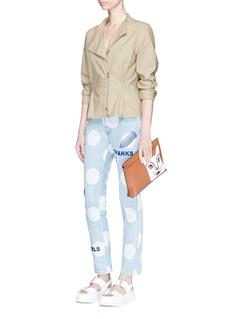 Stella McCartney'Thanks Girls' slogan embroidered polka dot print jeans