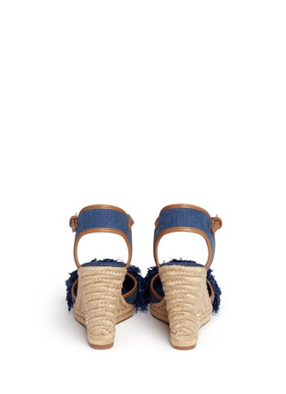 Back View - Click To Enlarge - Tory Burch - 'Shaw' fringe denim espadrille wedges