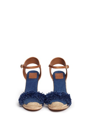 Front View - Click To Enlarge - Tory Burch - 'Shaw' fringe denim espadrille wedges