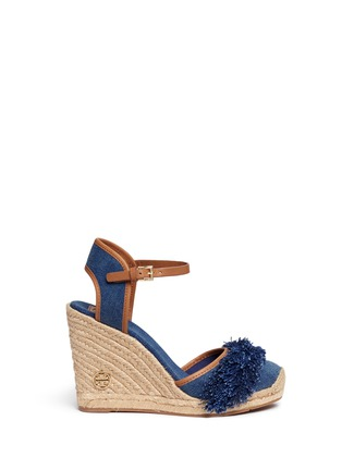 Main View - Click To Enlarge - Tory Burch - 'Shaw' fringe denim espadrille wedges