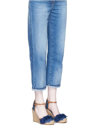 Figure View - Click To Enlarge - Tory Burch - 'Shaw' fringe denim espadrille wedges
