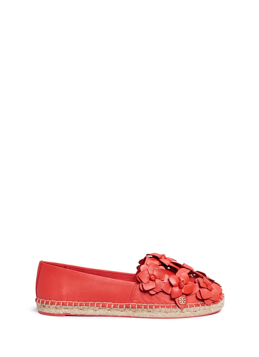Blossom floral leather espadrilles by Tory Burch