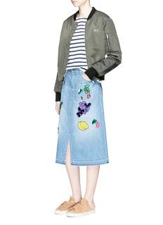 Muveil'Swilling Fruit Wine' embellished embroidery denim skirt