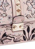 'Rockstud Lock' small sequin leaf shoulder bag