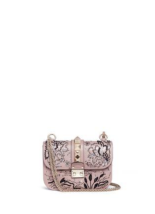Main View - Click To Enlarge - Valentino - 'Rockstud Lock' small sequin leaf shoulder bag