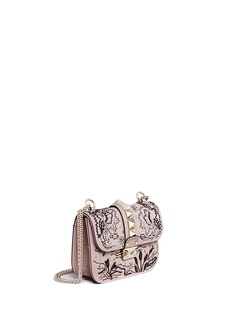 Valentino 'Rockstud Lock' small sequin leaf shoulder bag