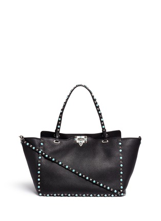 Main View - Click To Enlarge - Valentino - 'Rockstud Rolling' medium cabochon stud leather tote