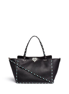 Valentino 'Rockstud Rolling' medium cabochon stud leather tote