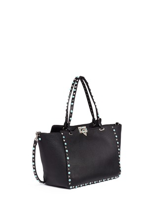 Figure View - Click To Enlarge - Valentino - 'Rockstud Rolling' medium cabochon stud leather tote