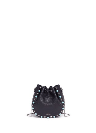 Detail View - Click To Enlarge - Valentino - 'Native Couture' cabochon stud leather bucket bag