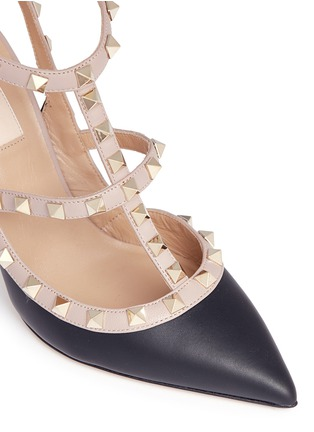 Detail View - Click To Enlarge - Valentino - 'Rockstud' caged strap leather pumps