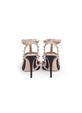 Back View - Click To Enlarge - Valentino - 'Rockstud' caged strap leather pumps