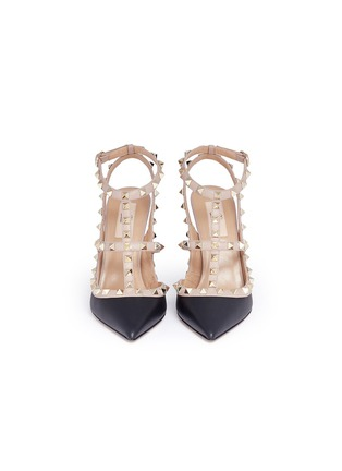 Front View - Click To Enlarge - Valentino - 'Rockstud' caged strap leather pumps