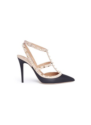 Main View - Click To Enlarge - Valentino - 'Rockstud' caged strap leather pumps