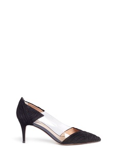 Valentino PVC panel ruched suede pumps