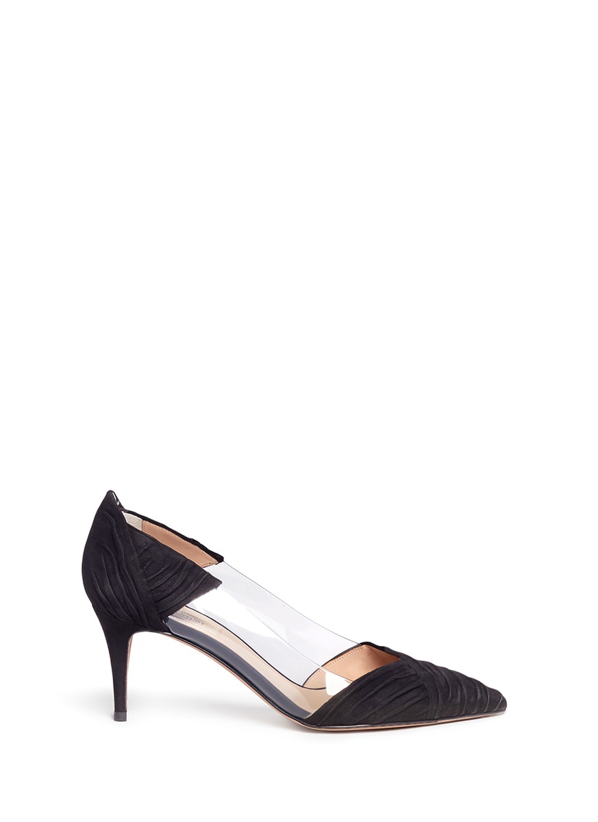 valentino female pvc panel ruched suede pumps