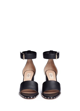 Front View - Click To Enlarge - Valentino - 'Soul Rockstud' block heel leather sandals