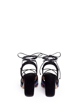 Back View - Click To Enlarge - Valentino - 'Native Couture' beaded suede lace-up sandals