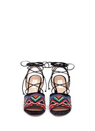 Front View - Click To Enlarge - Valentino - 'Native Couture' beaded suede lace-up sandals