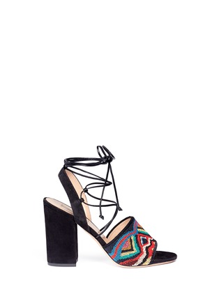 Main View - Click To Enlarge - Valentino - 'Native Couture' beaded suede lace-up sandals