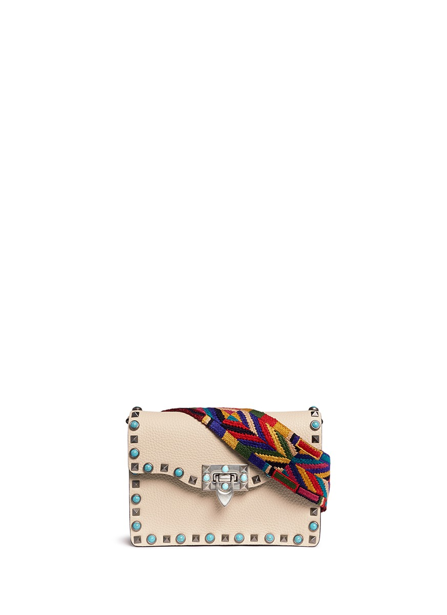 Guitar Rockstud Rolling cabochon stud leather bag by Valentino