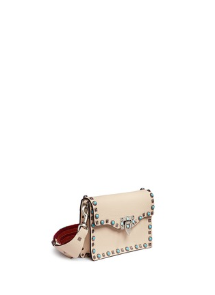 Figure View - Click To Enlarge - Valentino - 'Guitar Rockstud Rolling' cabochon stud leather bag