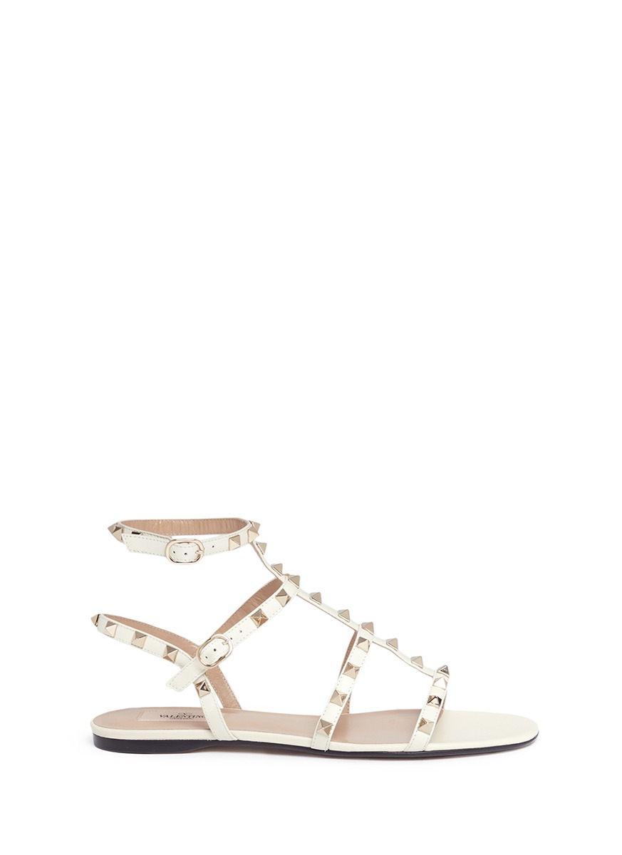 valentino female rockstud caged strap leather sandals