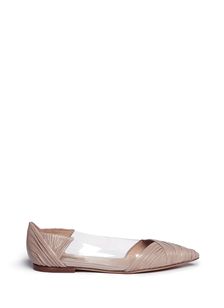 valentino female pvc panel ruched leather ballerina flats