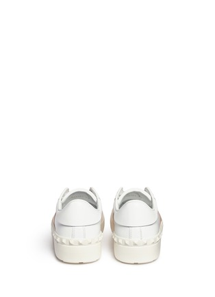 Back View - Click To Enlarge - Valentino - 'Rockstud Open' metallic panel leather sneakers