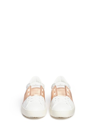 Front View - Click To Enlarge - Valentino - 'Rockstud Open' metallic panel leather sneakers
