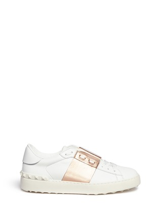 Main View - Click To Enlarge - Valentino - 'Rockstud Open' metallic panel leather sneakers