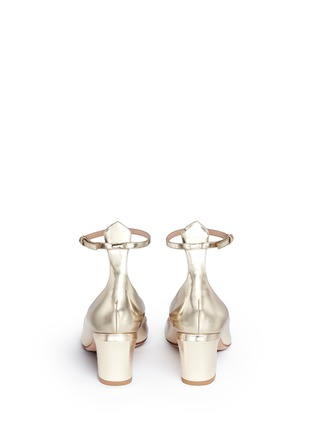 Back View - Click To Enlarge - Valentino - 'Tan-Go' ankle strap mirror leather pumps