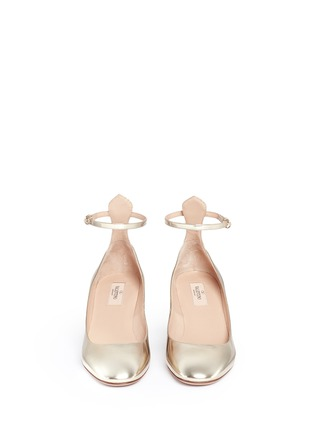 Front View - Click To Enlarge - Valentino - 'Tan-Go' ankle strap mirror leather pumps