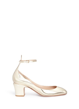 Main View - Click To Enlarge - Valentino - 'Tan-Go' ankle strap mirror leather pumps