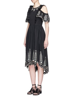 Temperley London 'Amour' cold shoulder embroidered high-low dress