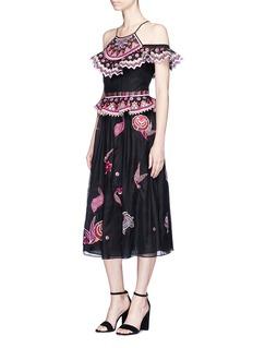 Temperley London'Wildflower' embroidered off-shoulder midi dress
