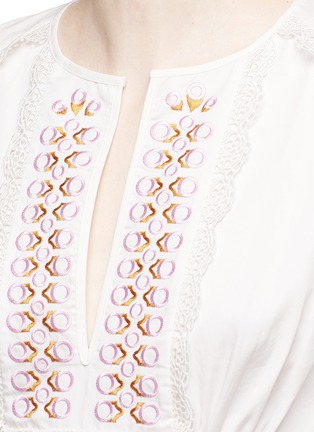 Detail View - Click To Enlarge - Temperley London - 'Amour' eyelet embroidered high-low cotton dress
