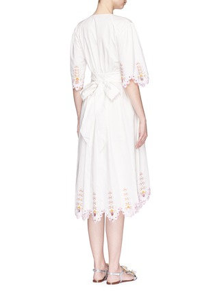 Back View - Click To Enlarge - Temperley London - 'Amour' eyelet embroidered high-low cotton dress
