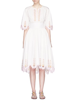 Main View - Click To Enlarge - Temperley London - 'Amour' eyelet embroidered high-low cotton dress