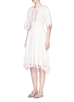 Figure View - Click To Enlarge - Temperley London - 'Amour' eyelet embroidered high-low cotton dress