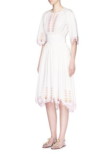Temperley London 'Amour' eyelet embroidered high-low cotton dress