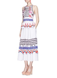 Temperley London 'Spellbound' peplum waist embroidered maxi dress