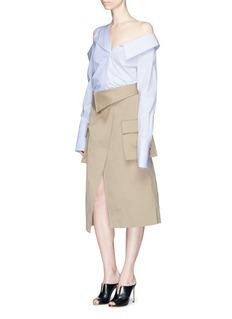 MonseFoldover waist cotton canvas wrap skirt