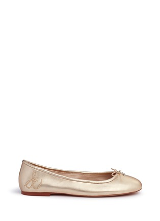 Main View - Click To Enlarge - Sam Edelman - 'Felicia' metallic leather ballet flats
