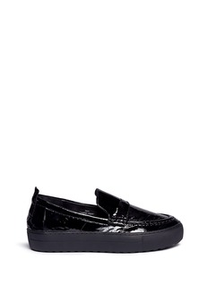 Ateljé 71'Idun' crinkled patent leather sneaker loafers