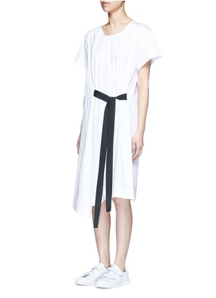 Front View - Click To Enlarge - FFIXXED STUDIOS - Tie front cotton poplin dress