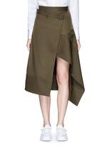 'Boundary' asymmetric mock wrap front skirt