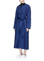 'Out' belted cotton-tencel dress